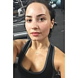 Demi was sweating out with a little cardio.