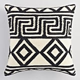 Ivory and Black Key Indoor Outdoor Throw Pillow