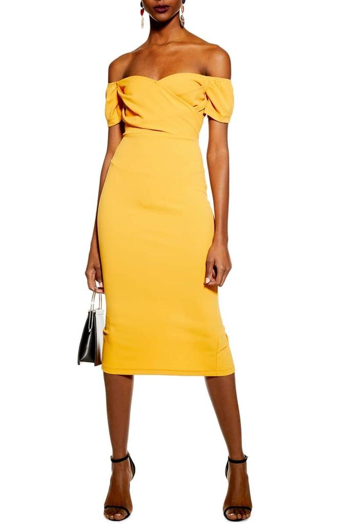 6d4264c150ab8 Topshop Off the Shoulder Wrap Midi Dress
