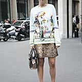Style a Graphic-Print Sweater With a Miniskirt
