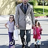 Ben Affleck With Daughters at Williams-Sonoma Pictures
