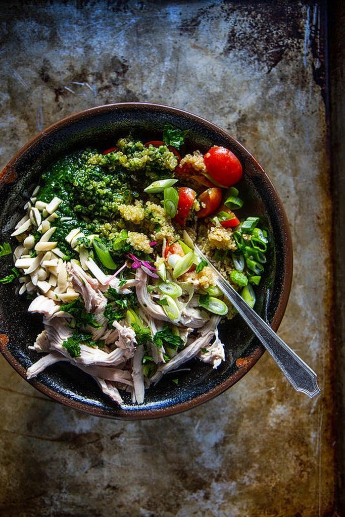 Chicken, Quinoa, and Kale Pesto Bowl
