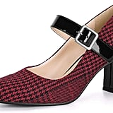 Allegra K Women's Block-Heel Pointed-Toe Mary Jane Pumps