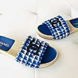 Chanel Blue and White Tweed Mules