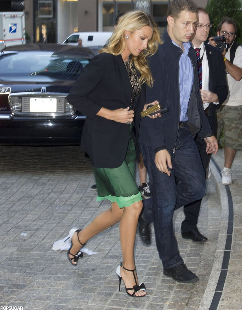 Blake Lively showed some leg in NYC.