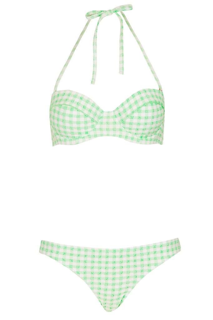 Topshop Green Gingham Bikini