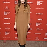 Riley Keough slipped into a knit ASOS turtleneck dress to stay stylish and cozy on the Lovesong red carpet.