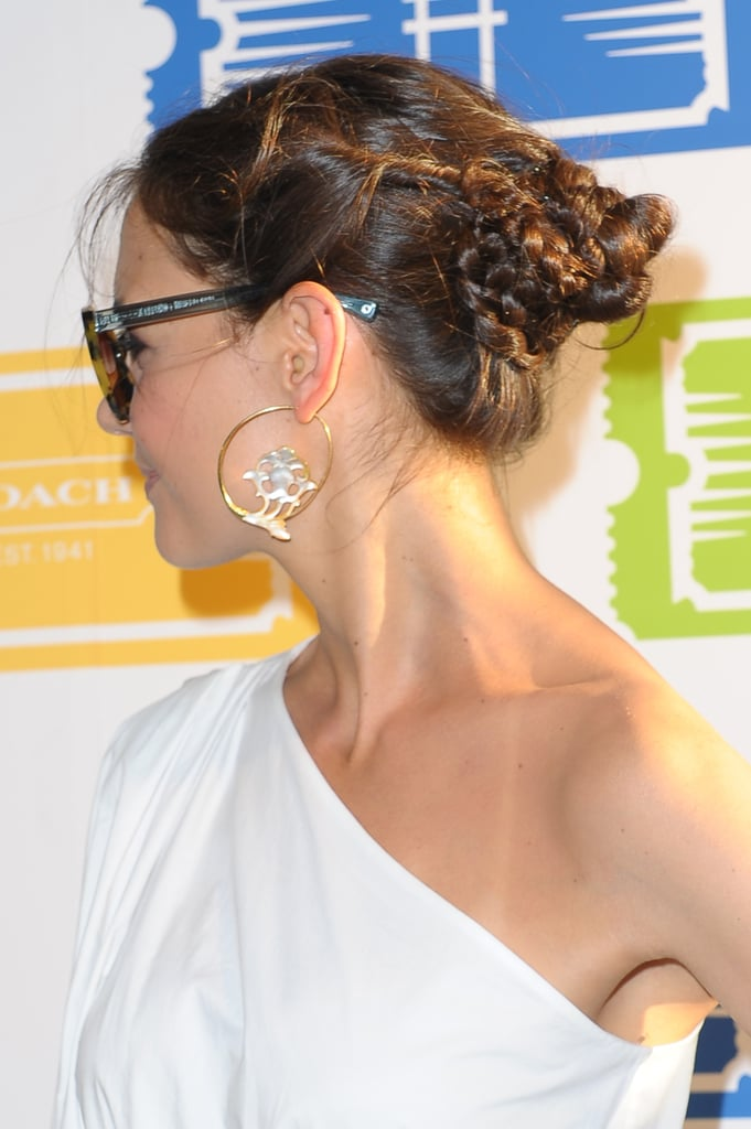 Check out Katie's twisted, braided updo from the side, a perfect style to wear all season long.