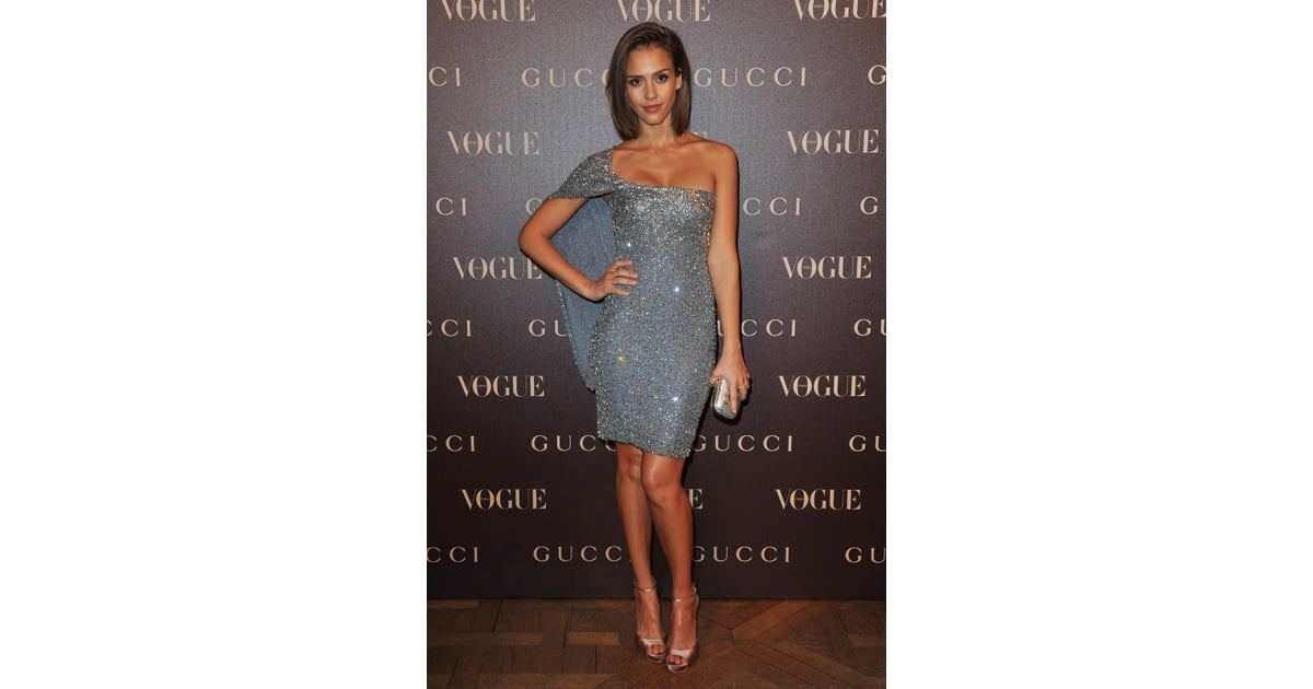 Jessica Alba shone in this one shouldered sequinned number ...