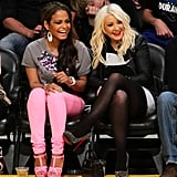 Christina Milian and Christina Aguilera had a girls' night out at the Lakers game in March 2012.