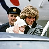 Diana carried her son off a flight at Aberdeen Airport on New Year's Day in 1981.