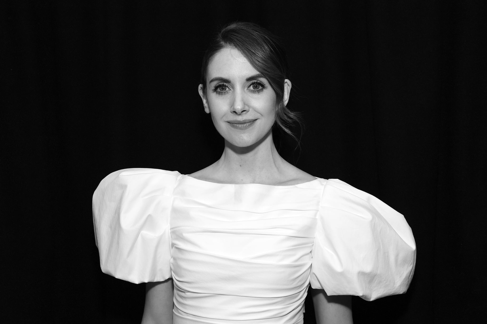 PARK CITY, UTAH - JANUARY 26:  (EDITOR'S NOTE: This image has been converted to black and white) Alison Brie attends the IMDb Studio at Acura Festival Village on January 26, 2020 in Park City, Utah. (Photo by Michael Kovac/Getty Images for Acura)