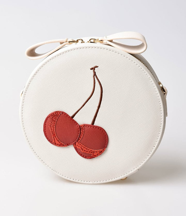 Unique Vintage Cream & Red Cherry Leatherette Round Shoulder Bag