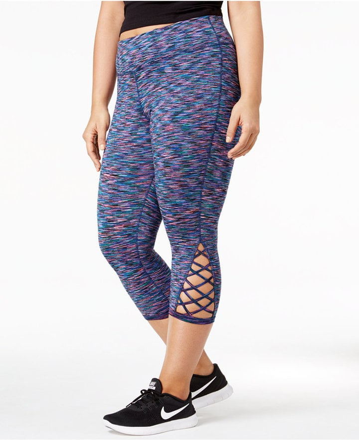 15207b612d3ce Ideology Plus-Size Space-Dyed Crisscross Detail Cropped Leggings ...