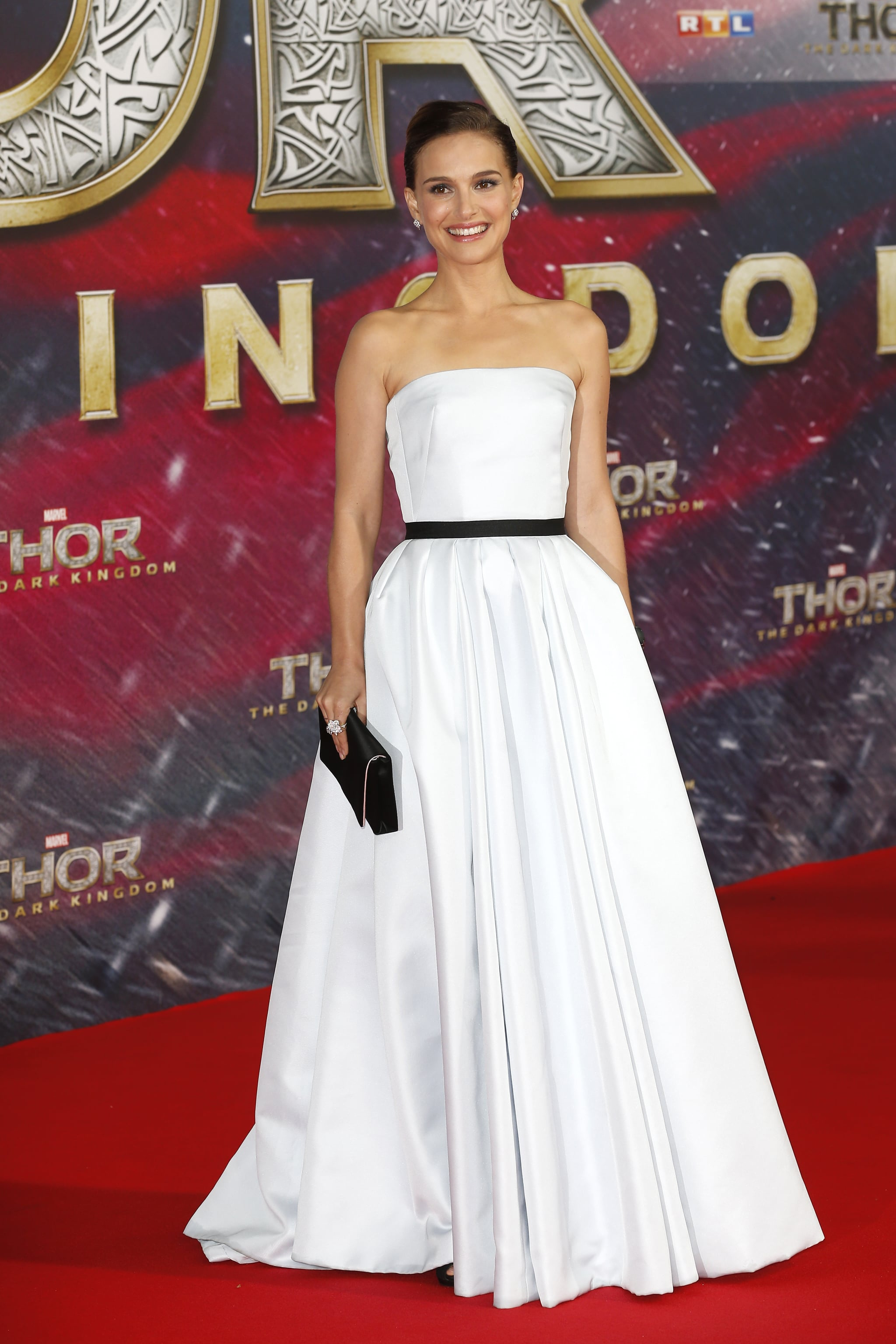 Natalie Portman wore a white floor-length dress to the German premiere of Thor: The Dark World.