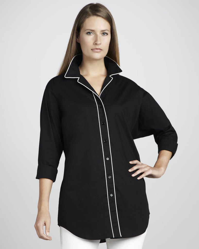 To keep Go Silk's looser pajama-inspired top ($43, originally $61) from feeling too literal, pair it with skinny jeans or a slim pencil skirt.