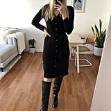 Banana Republic Sweater Dress Styled With Knee-High Boots