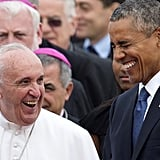 Laughing with Pope Francis at Andrews Air Force Base in 2015.