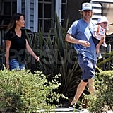 Owen Wilson with his son Robert Ford Wilson with Jade Duell.