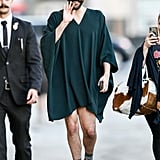 Get Fancy With a Sleeved Shirt Dress and Sparkly Sock Boots