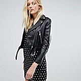 Lab Leather Cropped Jacket with Belt