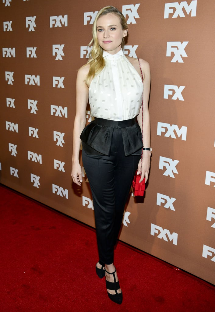Diane Kruger wore an embellished Jason Wu blouse and black peplum trousers at the FX Upfront event in NYC.