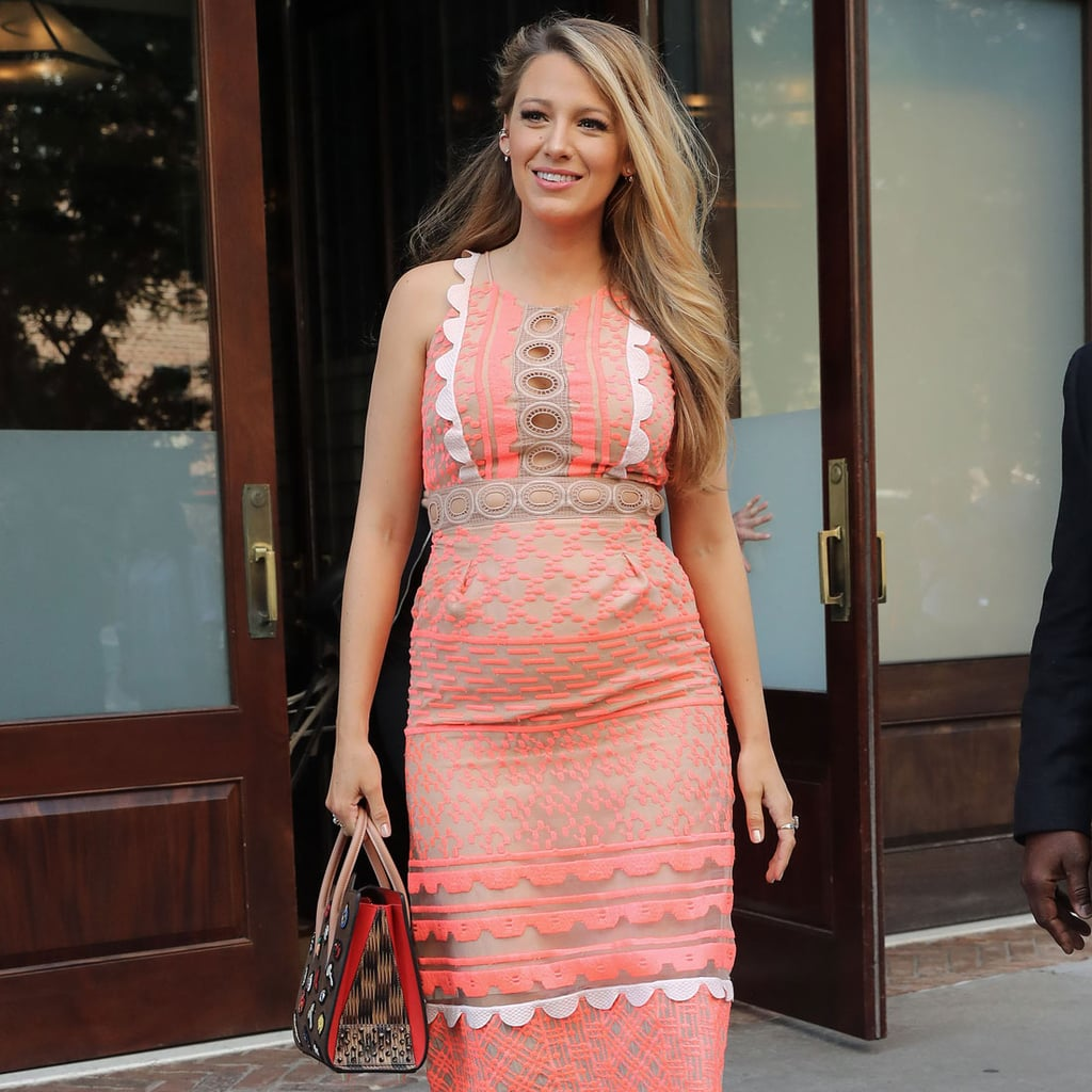 Blake Lively Pregnant Wearing a Pink Dress | July 2016 | POPSUGAR ...
