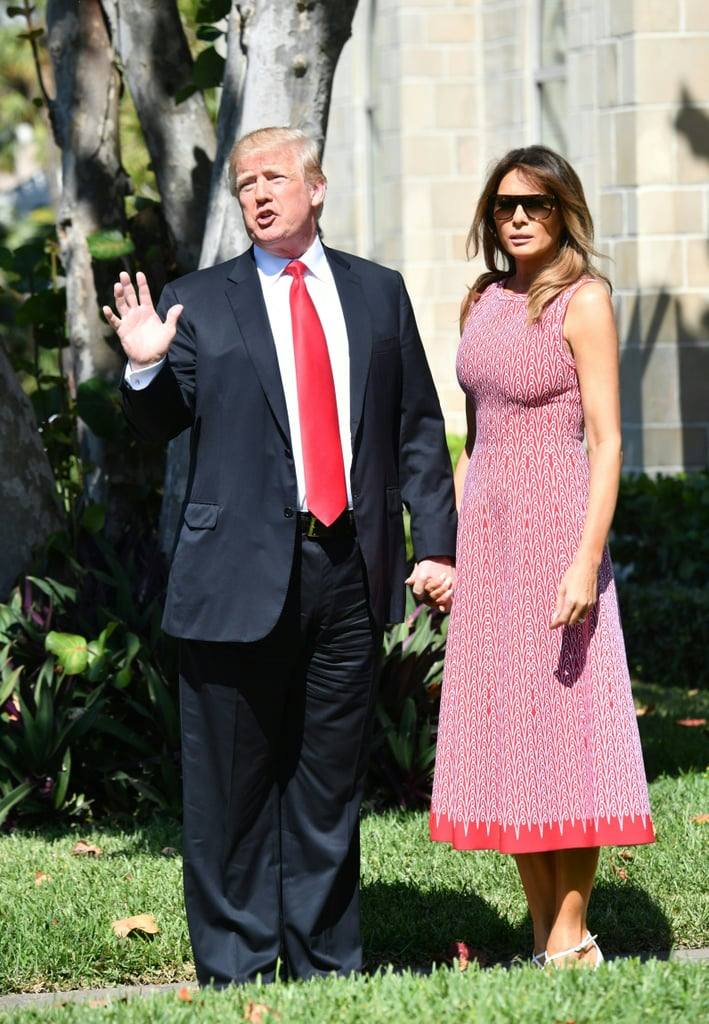 The Trumps arrived for a Church service in Florida on April 1. Melania wore a printed Azzedine Alaïa dress and Christian Louboutin heels.
