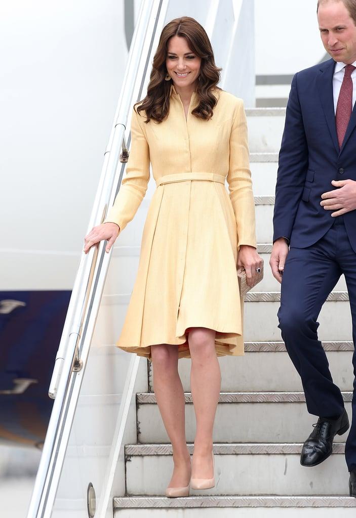 Kate Wearing Her Emilia Wickstead Coat For the Arrival in Bhutan