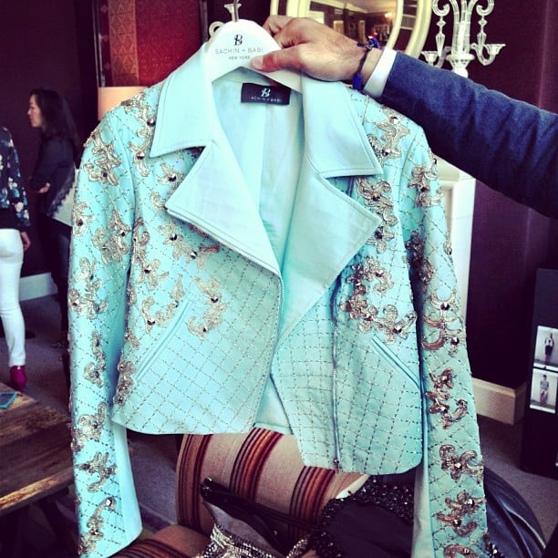 The embellishment on this moto jacket from Sachin + Babi will definitely steal the show at any party you wear it to.