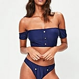 Missguided Navy Button Down Bardot Bikini Set