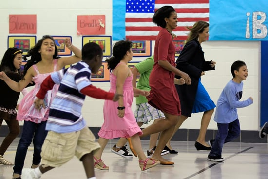 Michelle Obama and Margarita Zavala Work Out With Second Graders