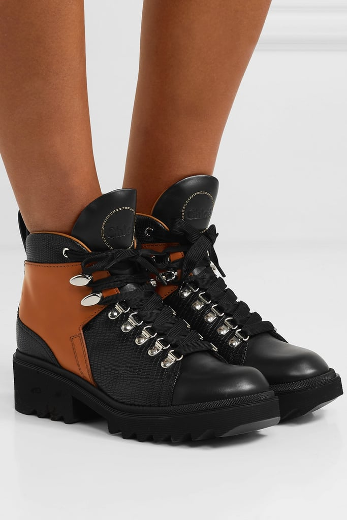 Chloé Bella Paneled Lizard Effect Leather Ankle Boots