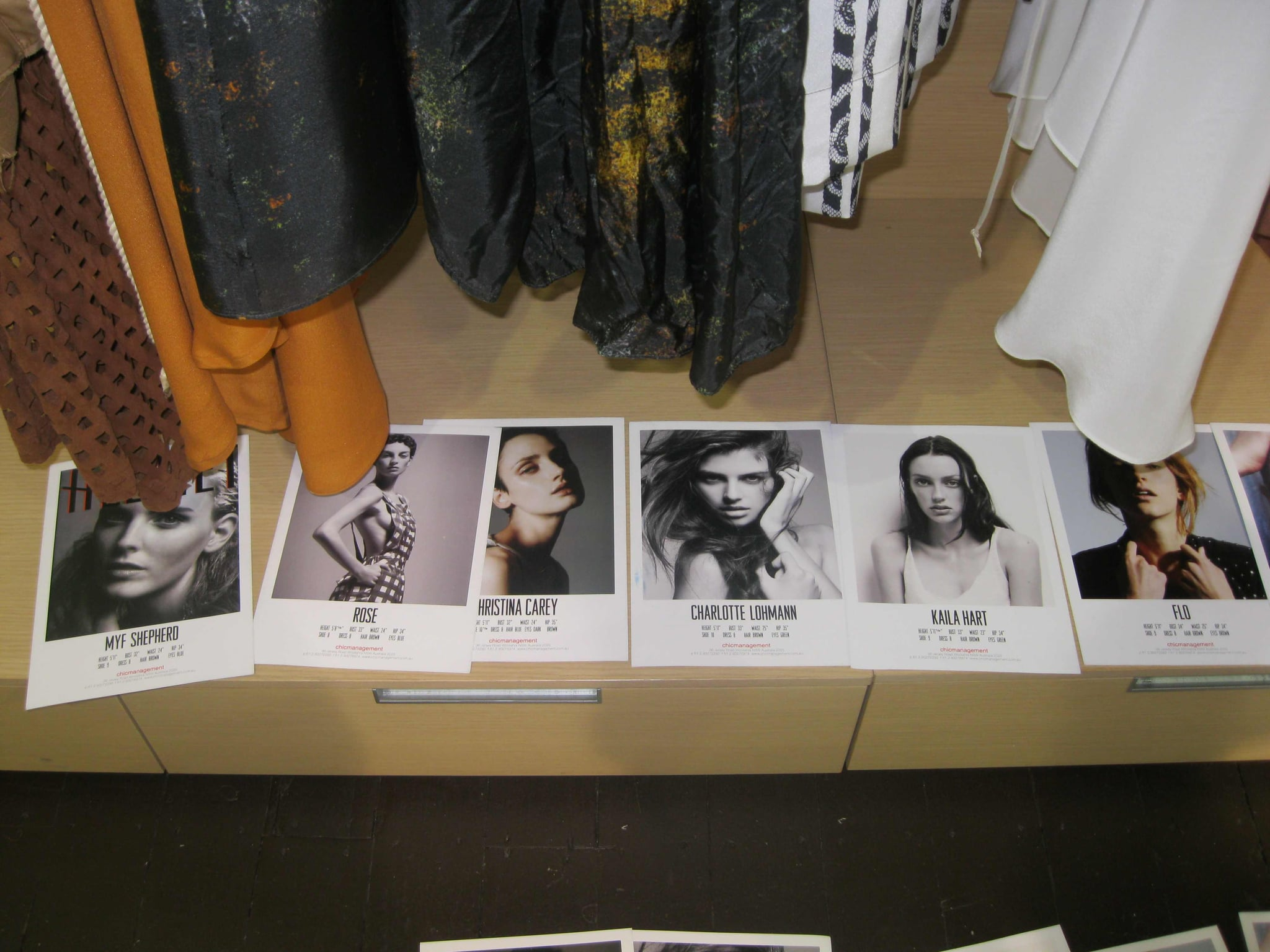 A selection of model cards from the casting; wonder which girls will make the grade?