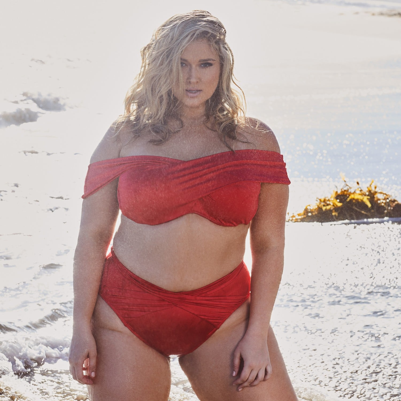 efcd239fbd6 Hunter McGrady Plus Size/Curve White High Neck Lace Panel Swimsuit | Hunter  McGrady Playful Promises Swimsuit Collection | POPSUGAR Fashion Photo 32