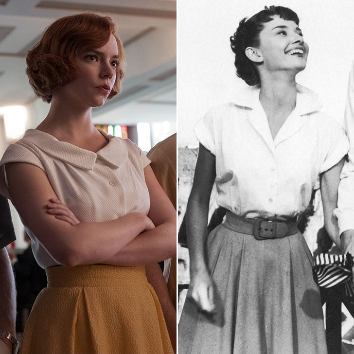 A white collared shirt, cinched at the waist, looked best when paired with a full skirt.