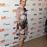 Saoirse Ronan was fashion forward in a sheer printed Mary Katrantzou dress and two-tone pumps at the How I Live Now premiere in Toronto.