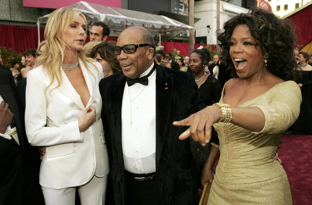 Kimberly Hefner, Quincy Jones, and Oprah walked the red carpet at the 2005 Oscars.