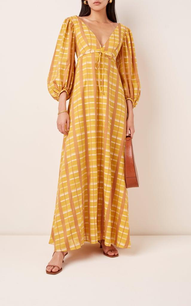 Staud Amaretti Plaid Cotton-Blend Dress