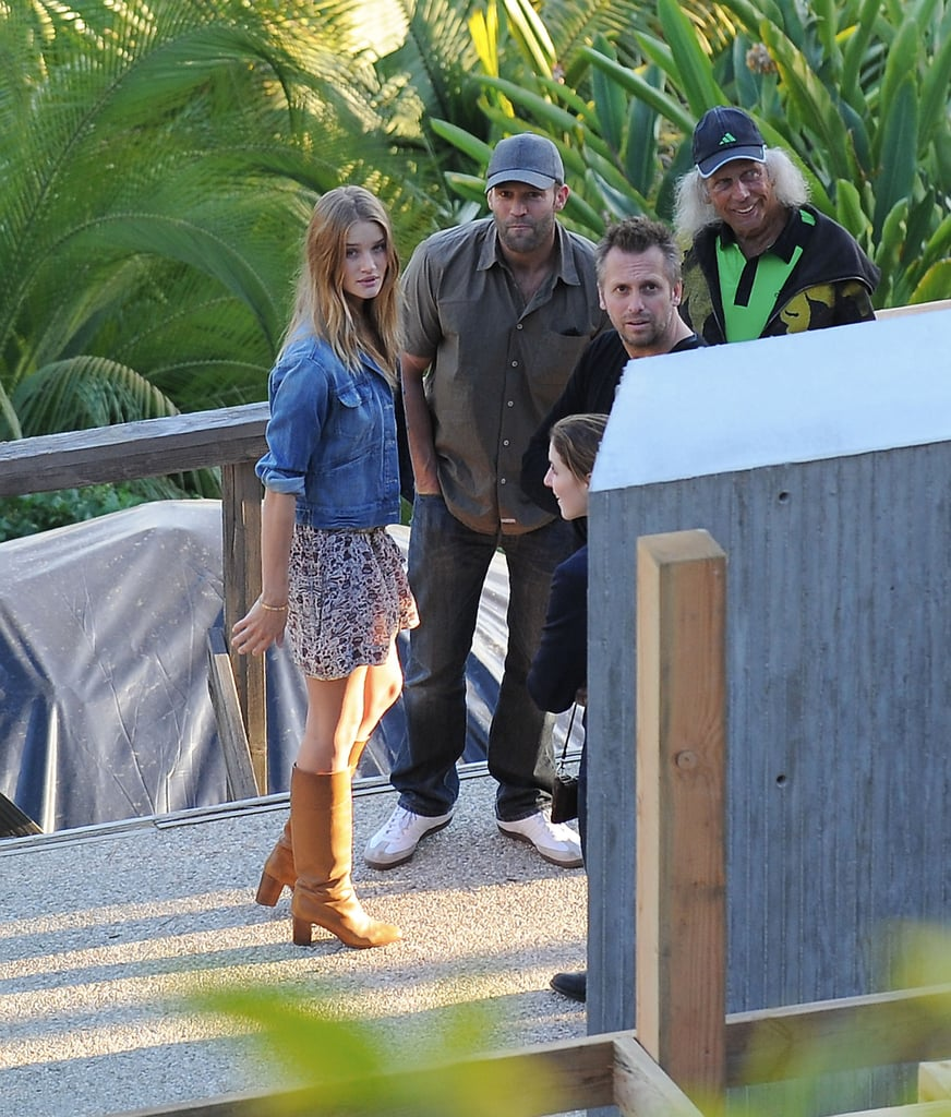 Rosie Huntington-Whiteley and Jason Statham were in the hills of Hollywood yesterday as they checked on the progress of their new home. Jason and Rosie have been staying at an LA hotel since Jason bought the plot last year and the couple have been building their dream house. The pair showed off some skin during a Winter break in Anguilla to start 2011, which ended when Jason flew back to LA for The Mechanic premiere.