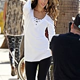 Alessandra Ambrosio posed in a long-sleeved shirt.