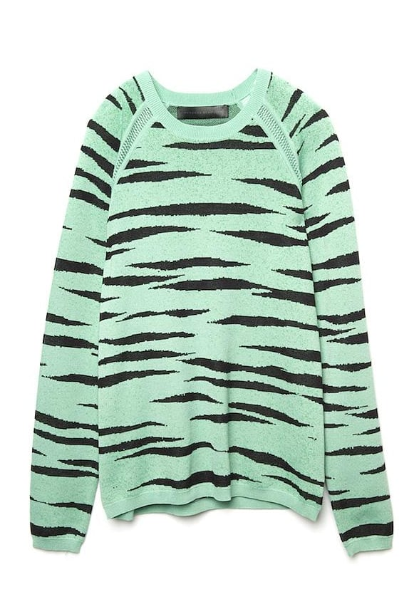 Proenza gives us another animal print to love with this mint-green tiger-striped pullover. We love that it's subtle enough to mix with our other prints.  Proenza Schouler Tiger Pullover ($545)