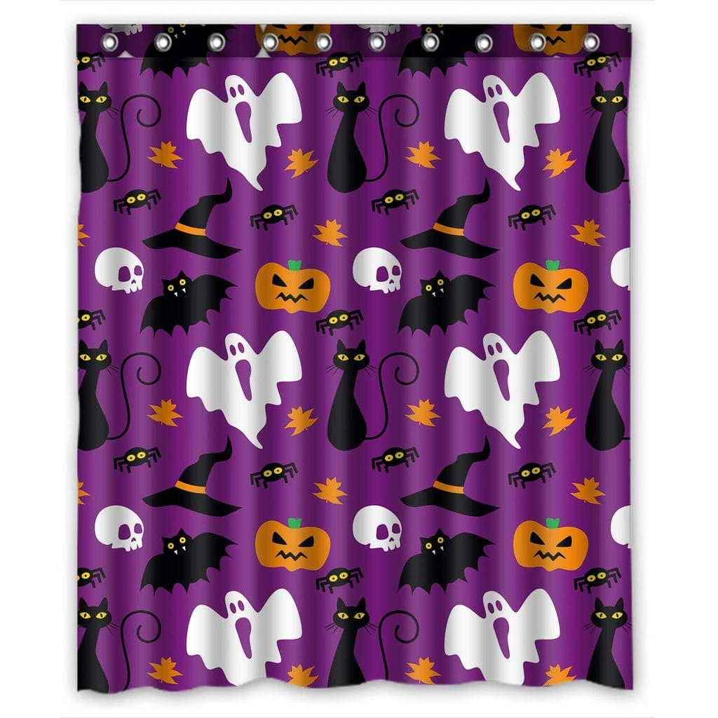 Funny Halloween Time Ghost Pumpkin Shower Curtain