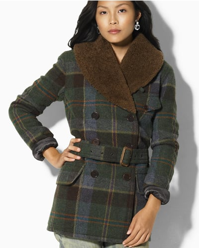 Ralph Lauren Blue Label Shearling-Collar Plaid Coat ($798)