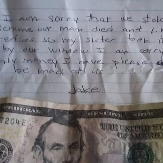 Boy Leaves Money and a Note After Stealing Wind Chime