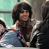 Halle Berry chatted with the crew in between takes.
