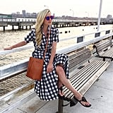 A Gingham Dress, a Bucket Bag, and Sandals