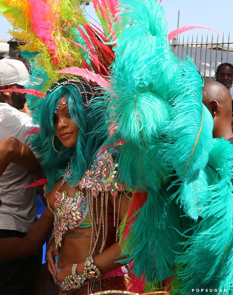 Rihanna is back in her home country of Barbados for one of her favorite events of the year: Crop Over Festival. After showing off her new turquoise hair over the weekend, the 29-year-old singer touched down on the Caribbean island to participate in the annual Kadooment parade, and we have a feeling all eyes were on her. Prior to hitting the streets, Rihanna left very little to the imagination when she modeled her sexy festival outfit, which consisted of a jewel-encrusted bikini and a colorful set of feathered wings, on Instagram. The Crop Over Festival is one of the biggest events in Barbados and marks the end of a successful sugar cane harvest. It's also a well-deserved break for Rihanna, who recently wrapped up the press tour for her new film, Valerian and the City of a Thousand Planets.       Related:                                                                                                           7 Famous Men Who've Been Lucky Enough to Score a Date With Rihanna