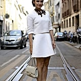 Show him just how chic you can be in an all-white ensemble.