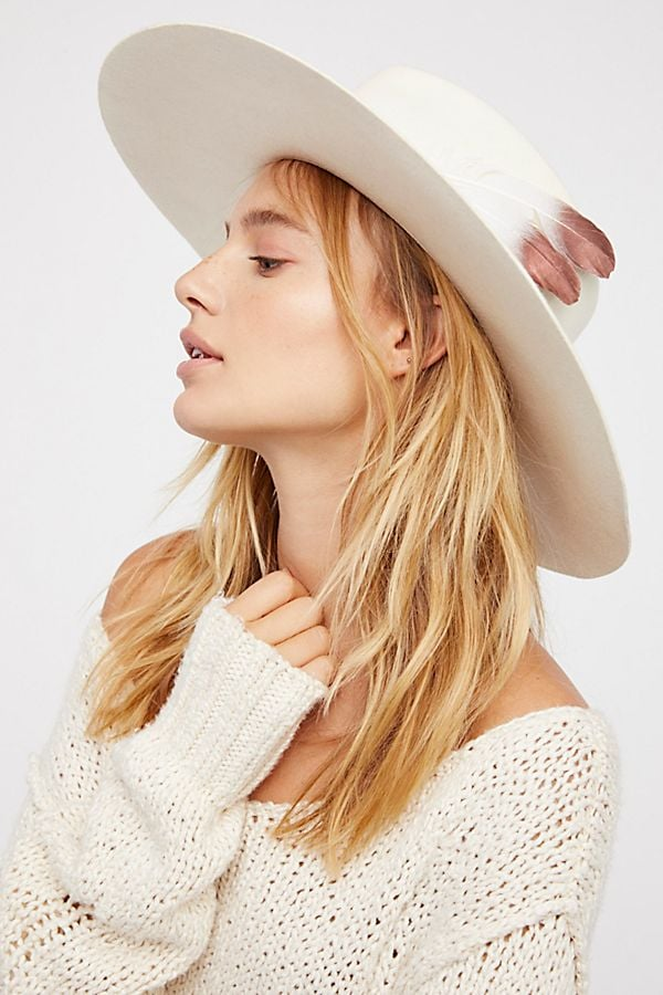Free People Van Palma Bandidas Feather Band Hat
